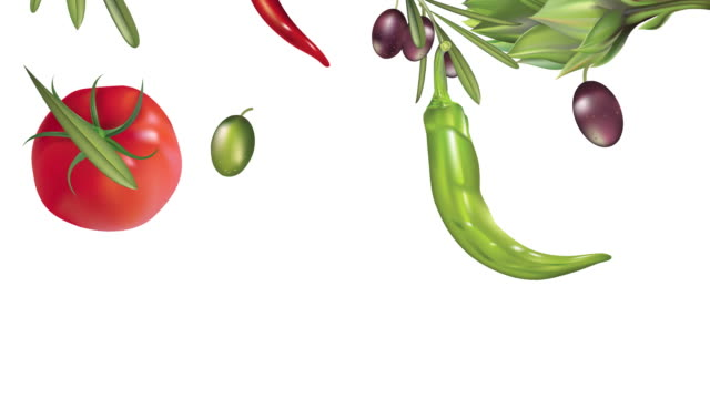 Vegetables Rolling Across a White Background. video