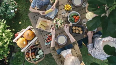 famiglia vegetariana che mangia raccolto fresco - alimentazione sana video stock e b–roll