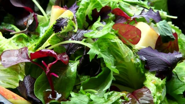 ベジタリアン、ヘルシーフード、野菜サラダ、 - サラダ点の映像素材/bロール