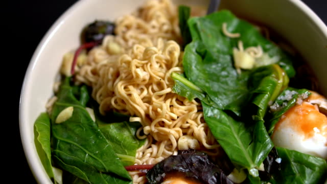 Vegetarian Ramen Noodle Soup With Veggies and Eggs