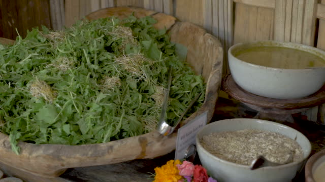 Vegetarian salad bar buffet with whole healthy food choices - dolly shot