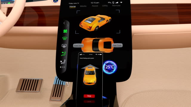 Vehicle automatic parking system interface 3D animation of vehicle automatic parking system interface demonstration. independence stock videos & royalty-free footage