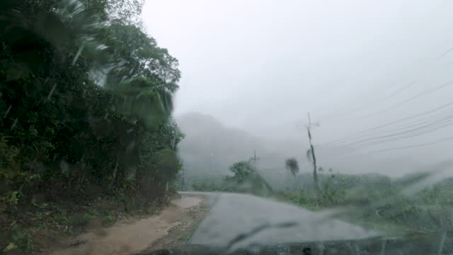 vidéos et rushes de panne de véhicule au bord de la route dans le point de vue de la première personne à la première personne de pluie torrentielle - pare brise