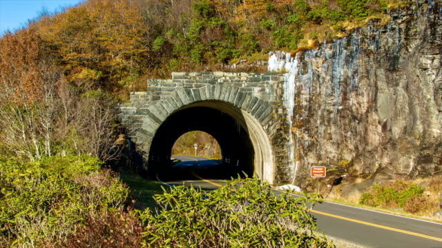 Vehicle Going Through Craggy Pinnacle Tunnel on Blue Ridge Parkway video