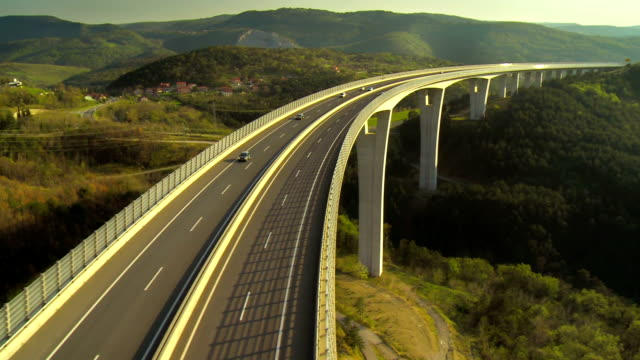 Vehicles Crossing A Viaduct
