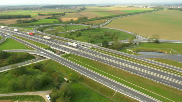 AERIAL Vehicles On The Highway Intersections video