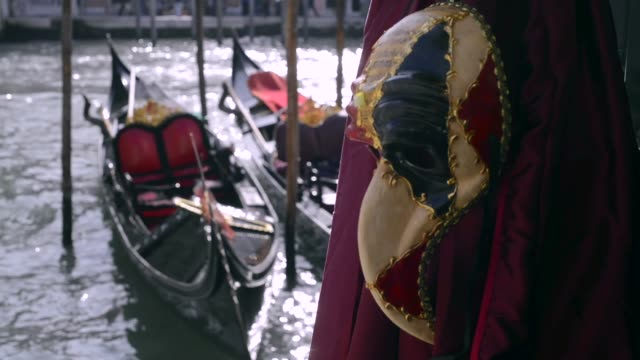 Venetian Carnival masks with grand canal and gondolas on background in Venice video