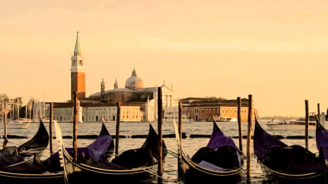 Venetian gondolas at sunrise, Italy video