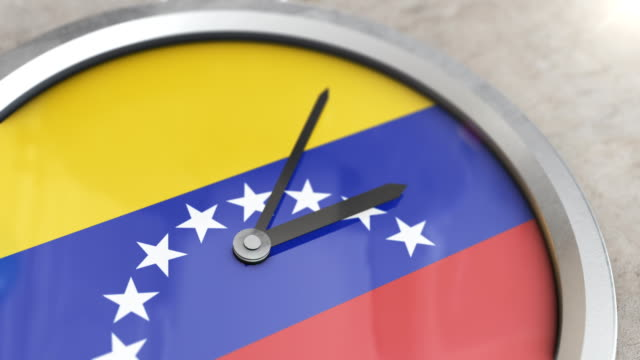 venezuela flag clock timelapse - cartello economico video stock e b–roll