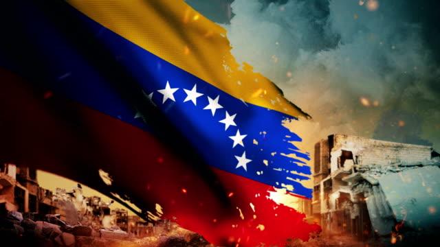 4k 委內瑞拉旗子-危機或戰爭或火 (圓環) - 危機 個影片檔及 b 捲影像