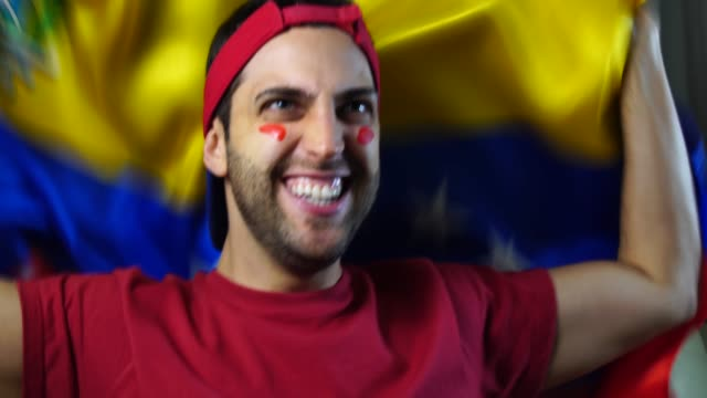 Venezuelan Guy Celebrating with Venezuela Flag video