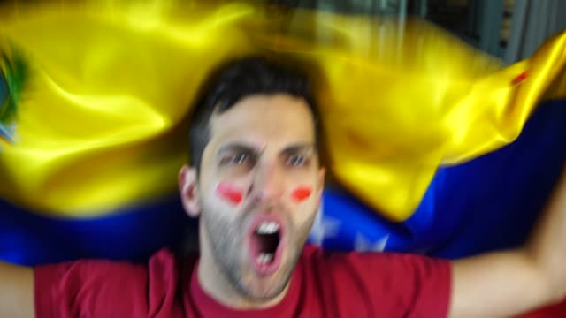 Venezuelan Guy Waving Venezuela Flag video