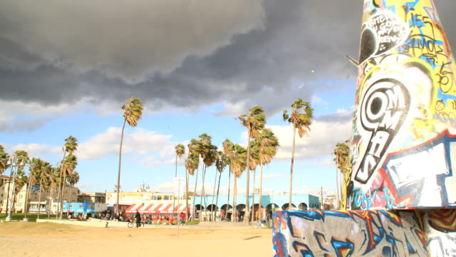Venice Beach art work as storm moves in (timelapse) video