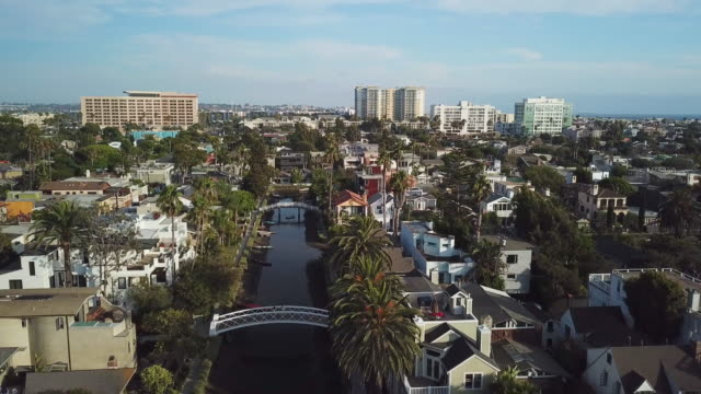 venice beach canals california - pullback aerial drone shot - canale video stock e b–roll