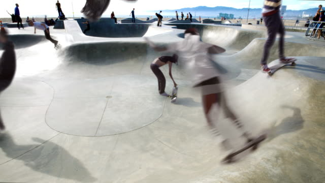 Venice Beach Cinemagraph Parallax Jumping Skater  4K video