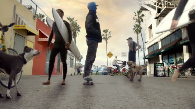 Venice Beach Cinemagraph Parallax Skater and Surfers 4K video