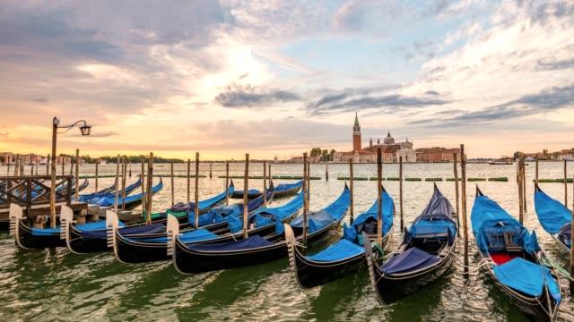 Venice city skyline sunrise timelapse and Venice Gondola boat, Venice, Italy 4K Time lapse video