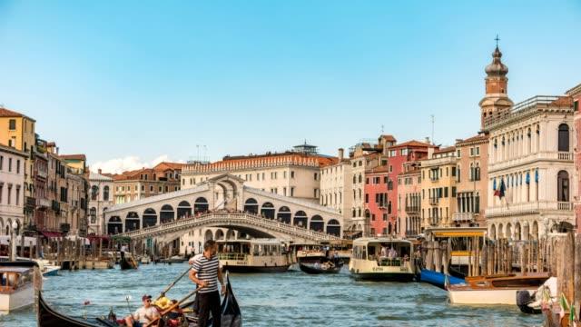 Venice city skyline timelapse at Rialto Bridge and Venice Grand Canal, Venice, Italy 4K Time lapse video