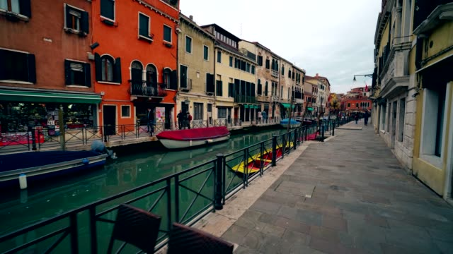 Venice gondola and other boats in Vinece canals 4K video