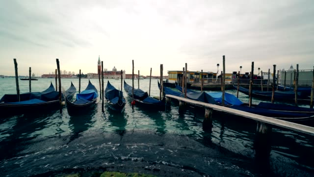 Venice gondola. Gondola on the Grand Canal, San Marko square, Italy 4K video
