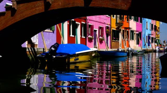 Venice landmark, Burano island canal, colorful houses and boats
