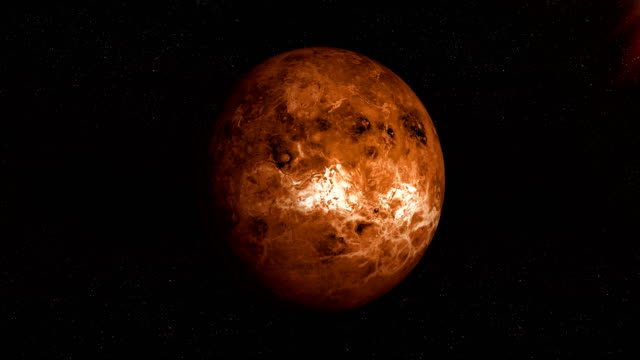 Venus planet spinning in its own orbit in the outer space. Loop