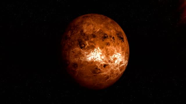 venus planet spinning in its own orbit in the outer space. loop - venus filmów i materiałów b-roll