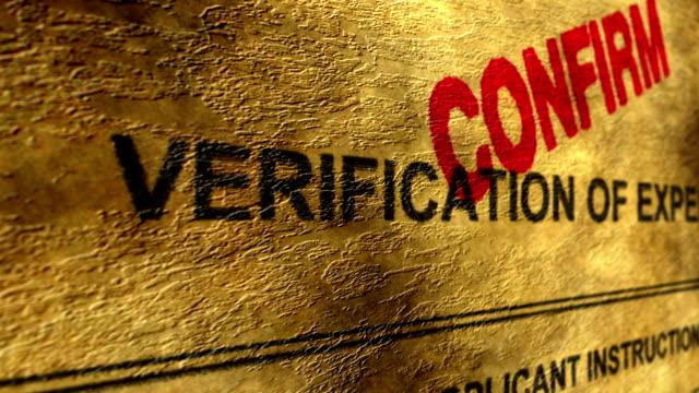 vídeos de stock, filmes e b-roll de verificação de experiência confirmam - validação