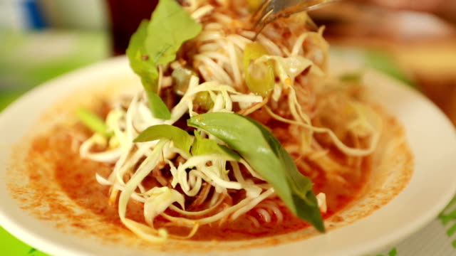 Vermicelli thai food, Slow motion video
