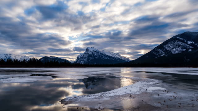 Vermilion lakes morning cloudscape video