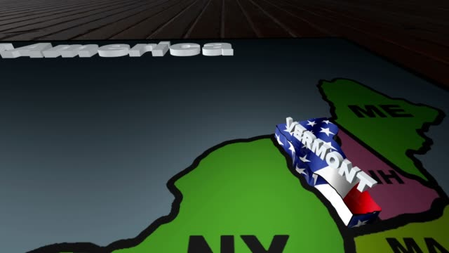 Vermont pull out from USA states abbreviations map video