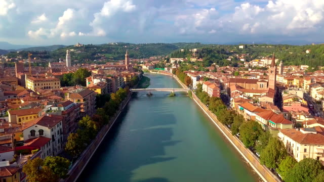 Verony Italy Skyline aerial footage in FullHD. View of riva and Bridge in Verona City. Left side Old town in Verona