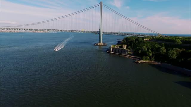 Verrazano Narrows Bridge Aerial Footage video