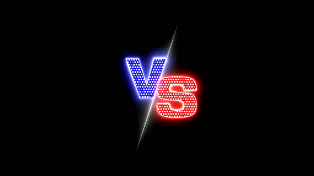 versus blue and red neon light stars shape sparkles animation - campionato video stock e b–roll