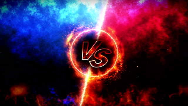 versus fight backgrounds, vs on fire, loop - conflittualità video stock e b–roll
