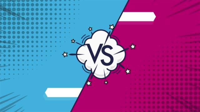 versus video background, vs letters. concept of battle, fight, comparison and conflict. versus background - campionato video stock e b–roll