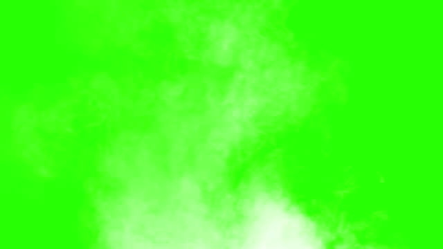 vídeos de stock e filmes b-roll de vertical blowing steam with white smoke isolated on chroma key green screen  background - vapor
