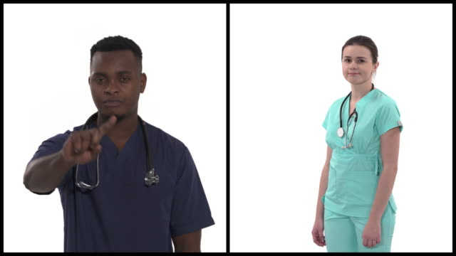 Vertical collage of multiracial doctors in professional medical coats demonstrating disapproval gesture. Isolated on white background. Medicine
