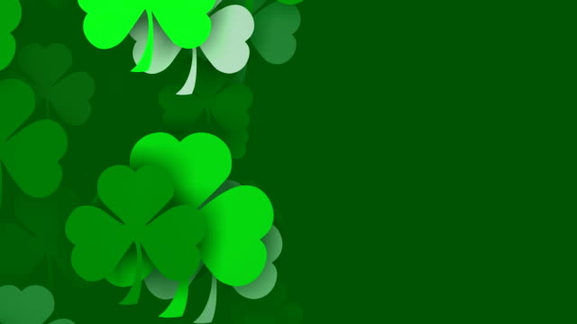 Vertical Composition, Copy Space, Shamrocks, for Saint Patrick's Day (Loopable) video