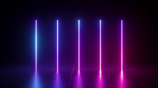 vertical glowing lines, ultraviolet spectrum, blue violet neon lights, laser show, night club, equalizer, abstract fluorescent background, optical illusion, virtual reality