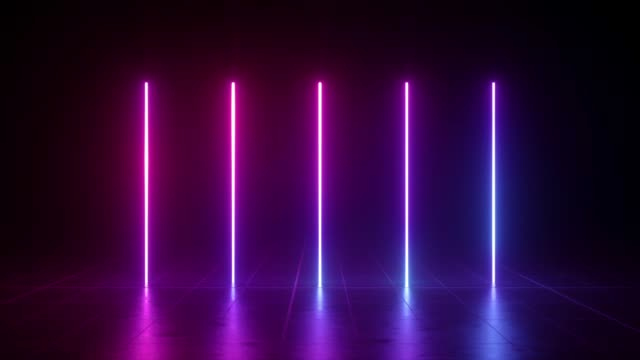vídeos de stock e filmes b-roll de vertical glowing lines, ultraviolet spectrum, pink blue neon lights, laser show, night club, equalizer, abstract fluorescent background, optical illusion, virtual reality - produto artístico