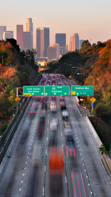 vertical los angeles traffic time lapse - vertical format video stock videos and b-roll footage
