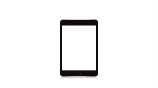 vertical modern tablet computer, white background blank white display - мультимедиа стоковые видео и кадры b-roll
