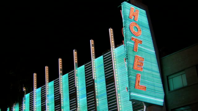 Vertical Neon Hotel Sign Video