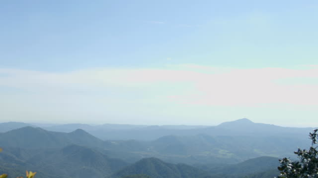 Vertical panorama of blue sky and mountains, beautiful green landscape, video