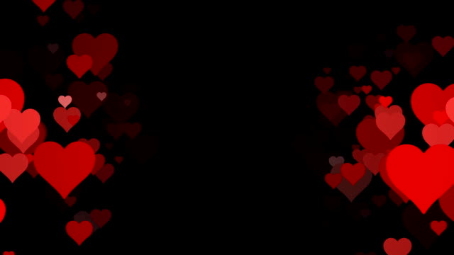 Vertical Rows of scrolling Hearts over Black Background (Loopable) video