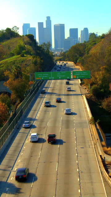 vertical scene of freeway traffic - vertical format video stock videos and b-roll footage