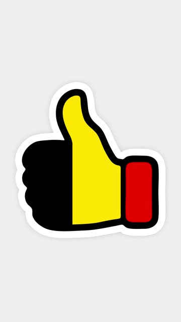 vertical screen, Vertical format. Drawing, animation is in form of like, heart, chat, thumb up with the image of Belgium flag . White background