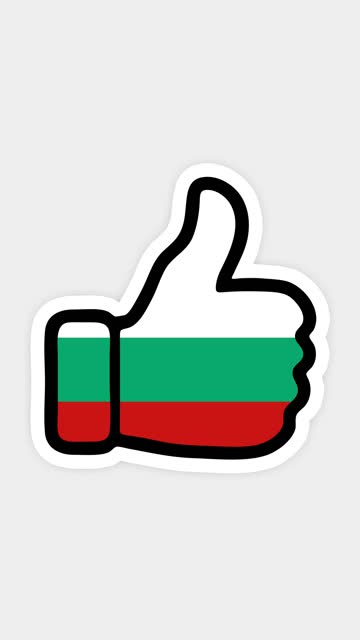 vertical screen, Vertical format. Drawing, animation is in form of like, heart, chat, thumb up with the image of Bulgaria flag . White background