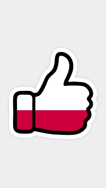vertical screen, Vertical format. Drawing, animation is in form of like, heart, chat, thumb up with the image of Poland flag . White background